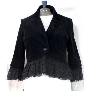 INC Black Velour Lace Trimmed Blazer